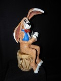 Rabbit Poker Player, Wood Sculpture, Fine Art