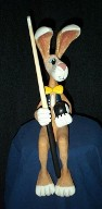 Rabbit Pool Player, Wood Art, Wood Sculpture