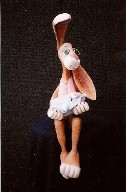 Rabbit holding baby, Wood Art