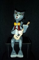 Cat Playing Guitar - Woodcarving